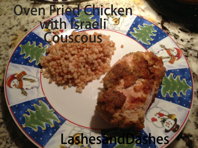Oven Fried Chicken and Couscous via LashesandDashes
