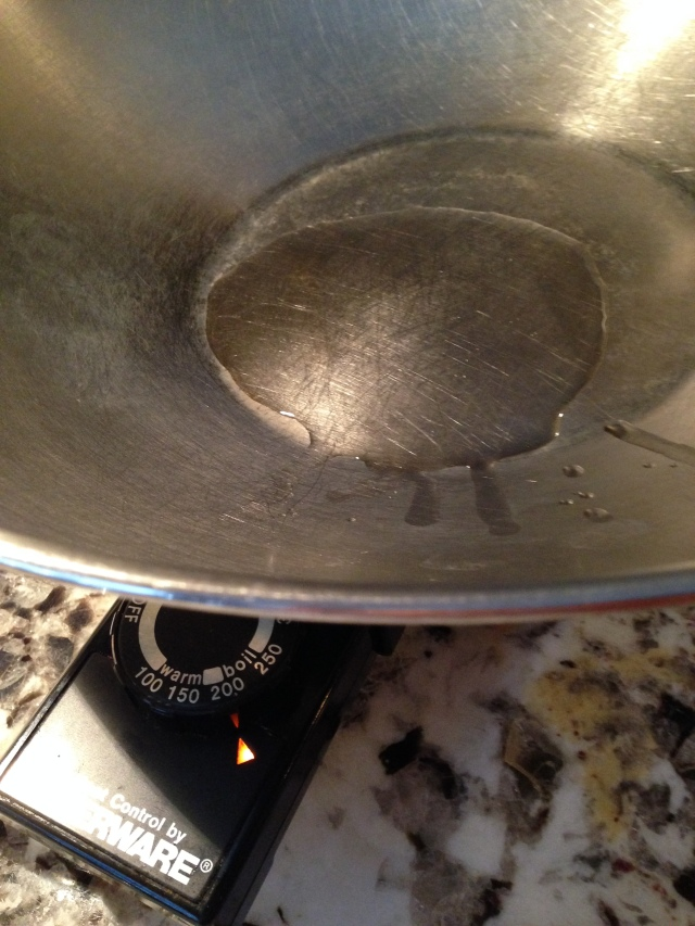The oil heating up in the Wok